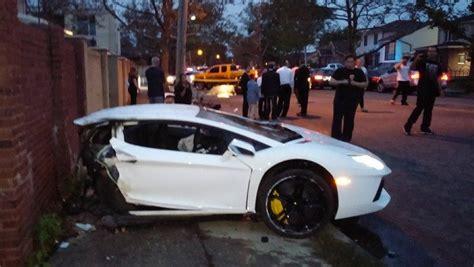 crashed white lamborghini lamborghini aventador splits in half in spectacular