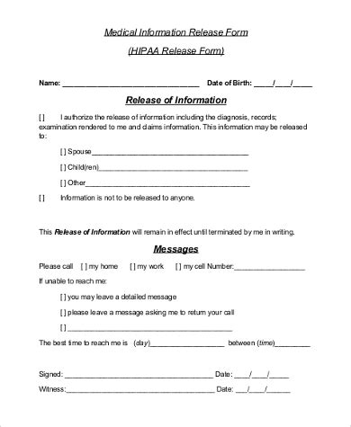 release of information form sle release of information form 9 free