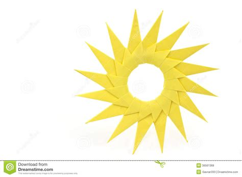 How To Make A Paper Sun - origami yellow paper sun royalty free stock photos image
