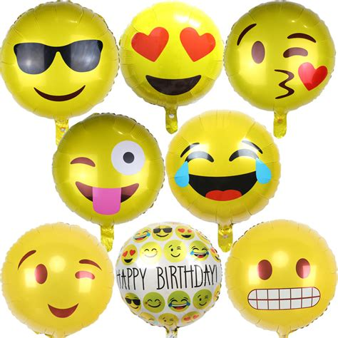 Balon Foil Emoji Birthday 10pcs lot qq expression ballons emoji foil balloon happy