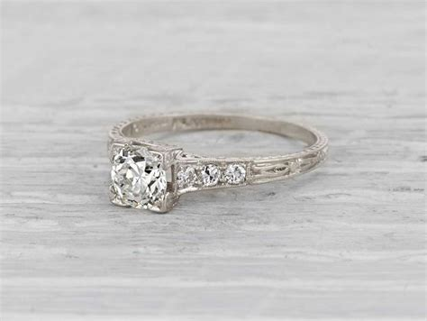 late edwardian vintage engagement ring made in platinum