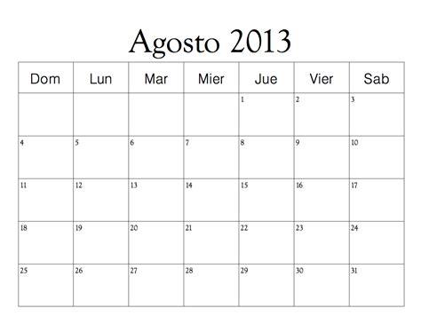 Calendario Agosto Calendario 2013 En Blanco Para Imprimir Imagui