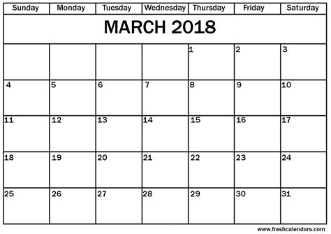 March 2018 Calendar Printable Template With Holidays Pdf Usa Uk Printable Blank Calendar Template