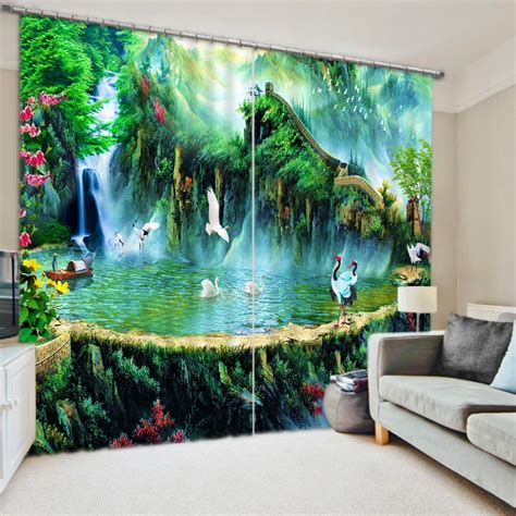 scenery window curtains fashion 3d curtains photo customize size spring scenery 3d