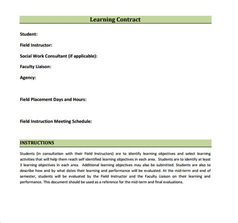 learning templates learning contract template 14 free documents