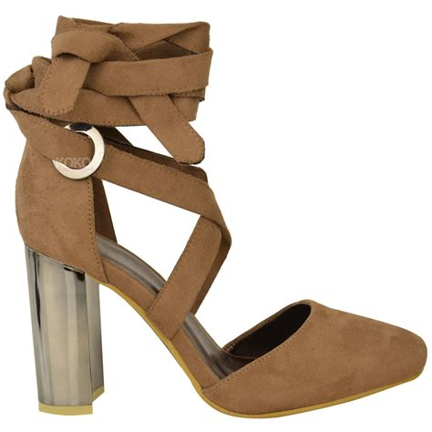 closed toe heeled sandals new womens block high heel ankle tie wrap closed