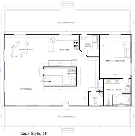 Floor plan example cape style house plan