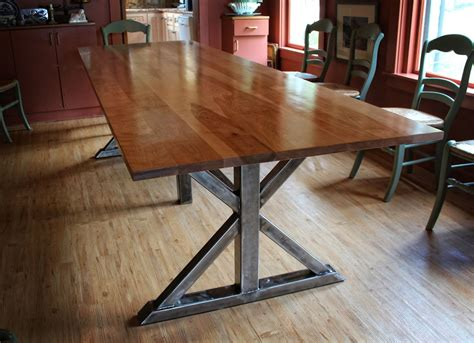custom wood table handmade birch and steel trestle dining table by higgins