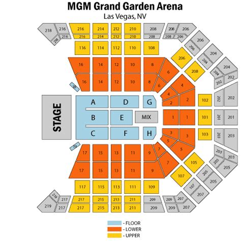 mgm grand seating chart boxing mgm grand garden arena boxing seating