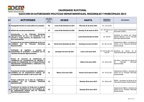 Calendario Electoral 2015 Bolivia Calendario Electoral 2015