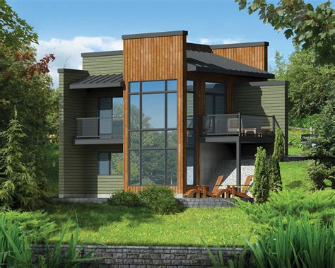 Sloped Lot Home Plans by Modern Getaway For A Front Sloping Lot 80816pm