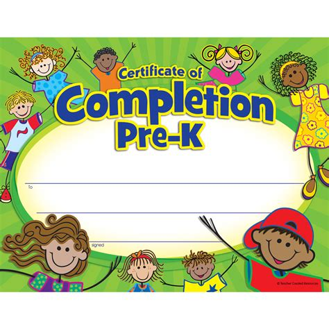 pre k certificate of completion tcr4588 teacher