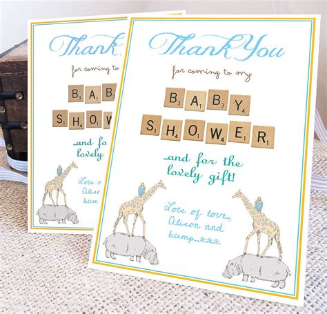 personalised baby shower thank you card by precious