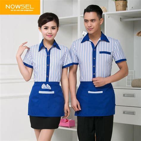 blue waitress blue purple stripes women man waiter uniform nowsel