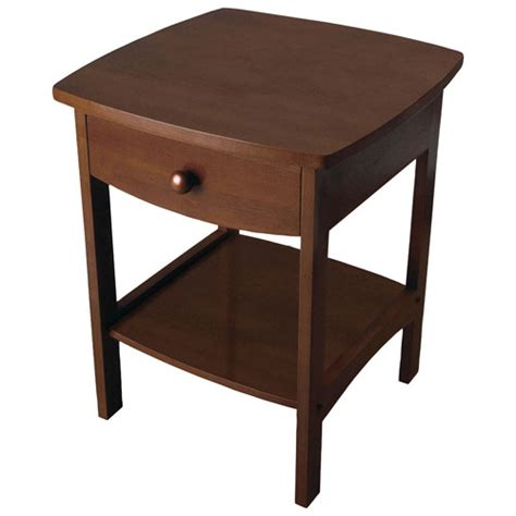 Curved Nightstand by Transitional 1 Drawer Curved Nightstand Antique Walnut