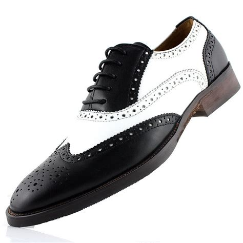 genuine two tone leather oxford wingtip formal dress shoes boot slip on shoe ebay
