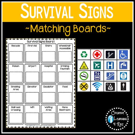Survival Signs Worksheets by Community Safety Survival Signs Symbols Matching Boards