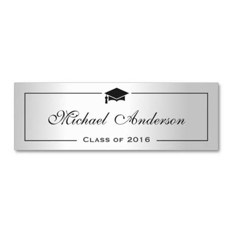 Graduation Place Cards Template by Silver Metallic Look Graduation Name Card Namecard More