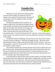 reading comprehension worksheet pumpkin pies
