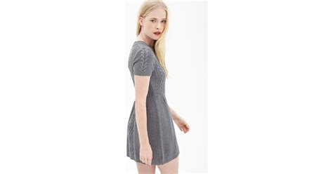 grey cable knit sweater dress forever 21 cable knit sweater dress in gray lyst