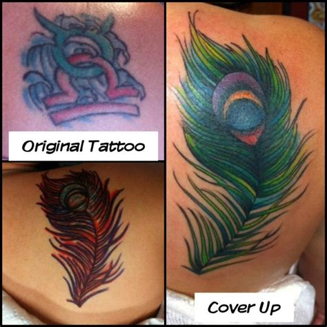 feather cover up tattoo peacock feather cover up tattooed by stewart