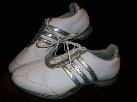 adidas fitfoam womens size  golf cleats shoes silver
