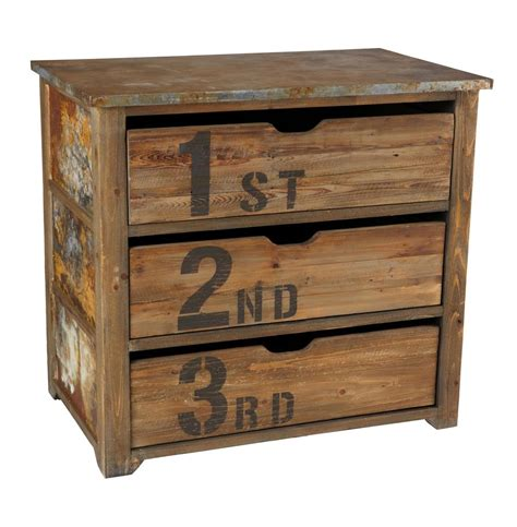 Best Wood For Drawers by Chunky Rustic Three Drawer Reclaimed Wood Tin Top Dresser