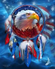 Eagles Shower Curtain - dream catcher eagle red white blue mixed media by carol cavalaris