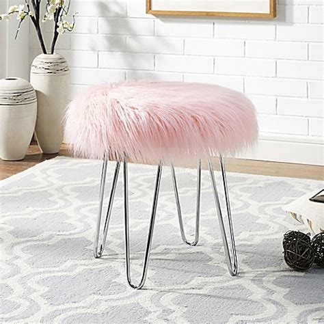 blush pink fur chair faux fur ottoman bed bath beyond