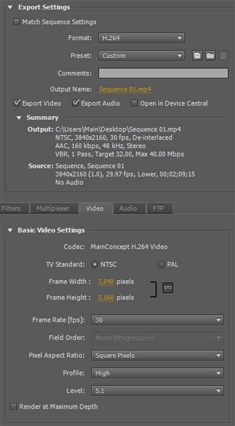 adobe premiere pro hd export settings premiere 4k export settings for youtube vimeo