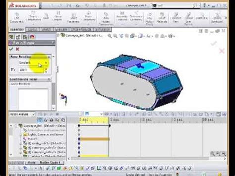 tutorial solidworks motion solidworks motion tutorial conveyor chain youtube