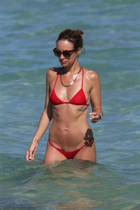 thong swimwear pubic hair showing catt sadler shows off her pubic strip in tiny bikini on