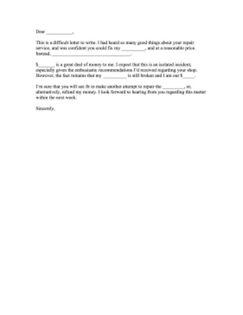Complaint Letter Template Shopping Repair Shop Complaint Letter