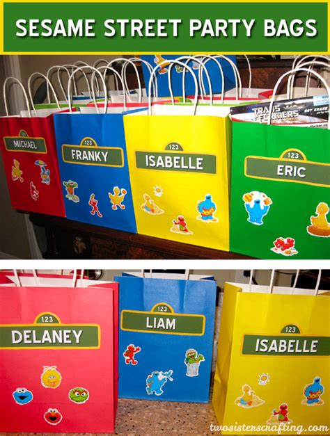 Ideas For Birthday Decoration At Home by Sesame Street Party Favor Bags Two Sisters