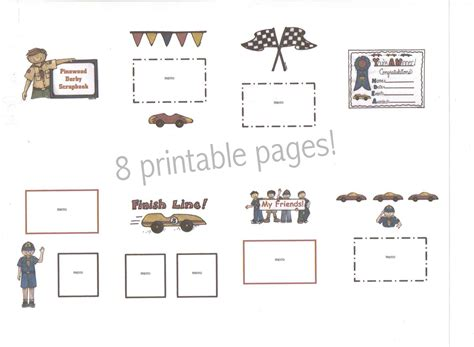 pinewood derby printables boy cub scout pinewood derby printable scrapbook