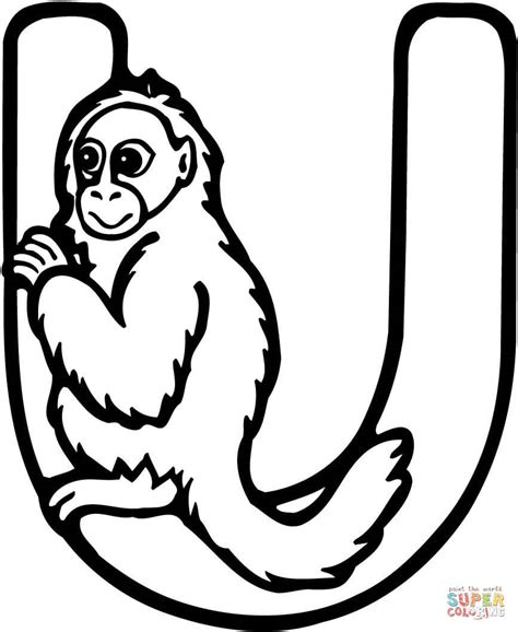 M U R A H Gir Gendong Tiger letter u is for uakari monkey coloring page free