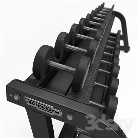 free weights and bench 3d models sports technogym pure strength adjustable