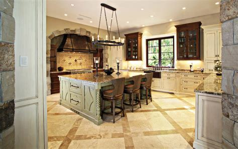 Traditional Kitchen With Large Island   Rustic   Kitchen