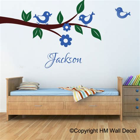 personalised name with birds and tree branch wall sticker
