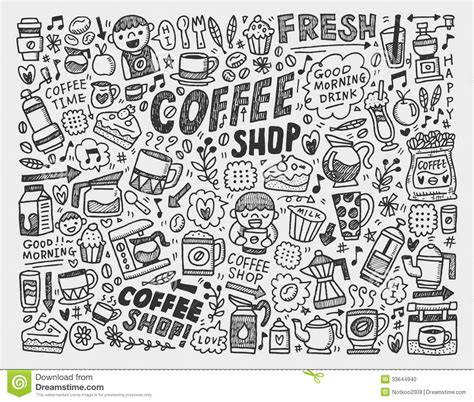 doodle drawing illustrator doodle coffee element background stock illustration