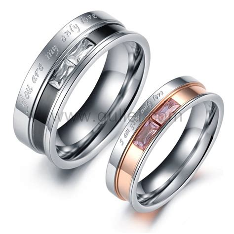 engraved his and hers titanium promise rings for couples