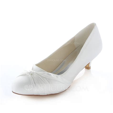 Closed Toe Wedding Shoes by S Satin Kitten Heel Closed Toe Pumps 047085042