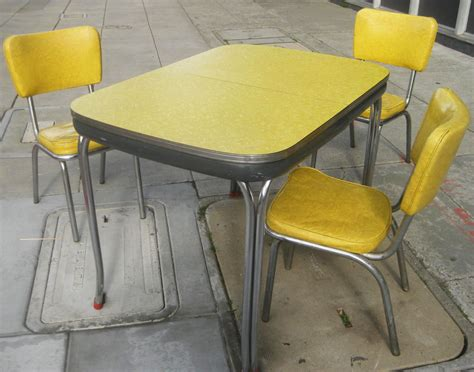 Yellow Kitchen Table Uhuru Furniture Collectibles Sold Yellow Chrome 50s Kitchen Set 95