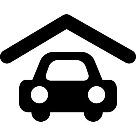 Garage Icon by Garage With Roof And Parked Car Icons Free