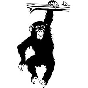 Wall Vinyls Home Decor cartoon monkey hanging from tree vinyl decal chimpanzee