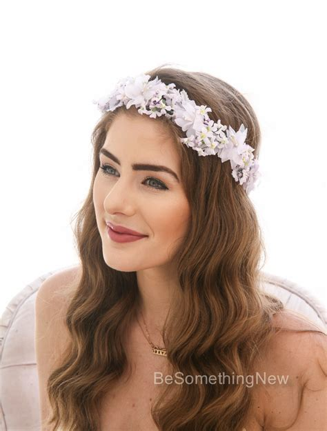 Vintage Bridesmaid Hair Accessories by Lavender Flower Crown Made From Vintage Flowers