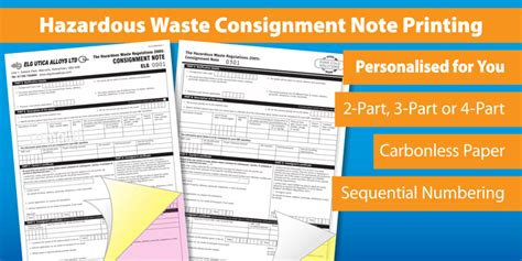 waste consignment note template hazardous waste consignment notes personalised duplicate pads
