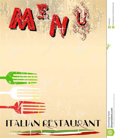 italian menu template menu royalty free stock photos image 34323018