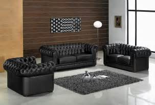 1 black leather living room furniture