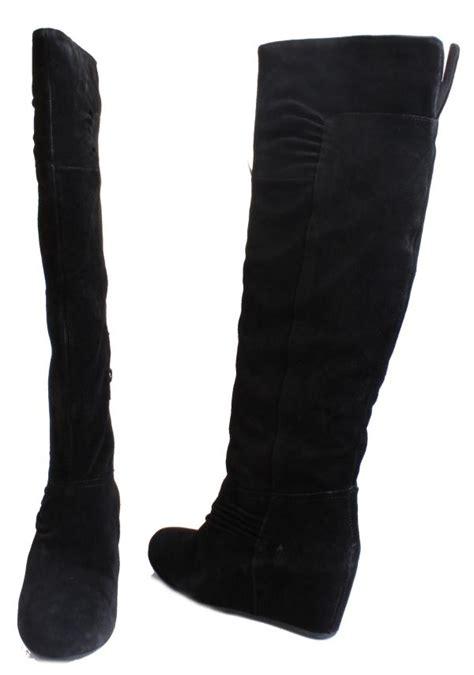 nine west amelie womens black suede knee high wedge boots